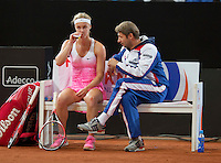 Februari 07, 2015, Apeldoorn, Omnisport, Fed Cup, Netherlands-Slovakia,    Anna Karolína Schmiedlová, on the Slovakian bench(SLO)<br /> Photo: Tennisimages/Henk Koster
