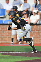 Bristol Pirates first baseman Jhoan Herrera (22) runs to first base during a game against the Johnson City Cardinals at TVA Credit Union Ballpark on June 23, 2017 in Johnson City, Tennessee. The Pirates defeated the Cardinals 4-3. (Tony Farlow/Four Seam Images)