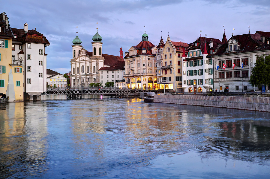 River Reuss running through Lucerne at dusk, Switzerland, Europe