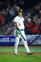 Jake Shepski (0) of the Notre Dame Fighting Irish walks off the field after striking out against the Louisville Cardinals in Game Eight of the 2017 ACC Baseball Championship at Louisville Slugger Field on May 25, 2017 in Louisville, Kentucky. The Cardinals defeated the Fighting Irish 10-3. (Brian Westerholt/Four Seam Images)