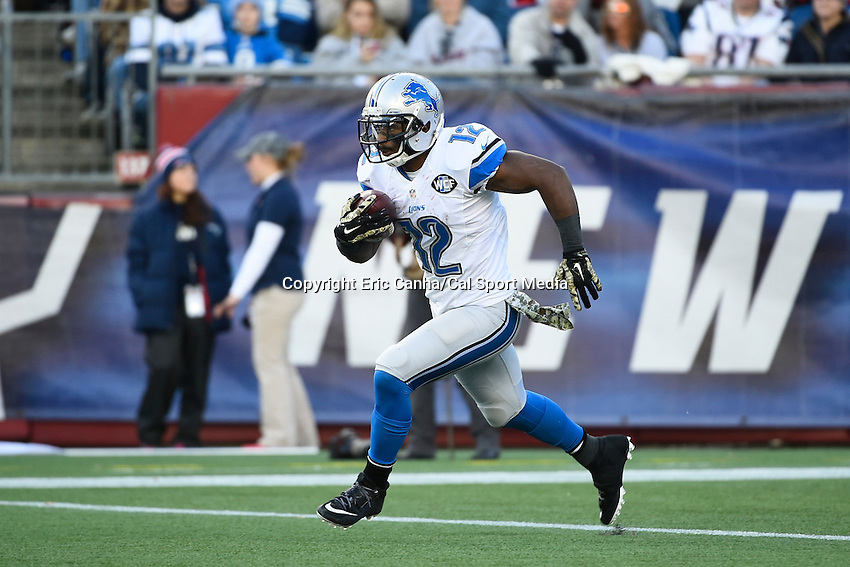 November 23, 2014 - Foxborough, Massachusetts, U.S.- Detroit Lions wide receiver Jeremy Ross (12) in game action during the NFL game between the Detroit Lions and the New England Patriots held at Gillette Stadium in Foxborough Massachusetts. The Patriots defeated the Lions 34-9. Eric Canha/CSM