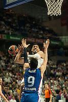 Real Madrid´s Gustavo Ayon and Anadolu Efes´s Dario Saric during 2014-15 Euroleague Basketball match between Real Madrid and Anadolu Efes at Palacio de los Deportes stadium in Madrid, Spain. December 18, 2014. (ALTERPHOTOS/Luis Fernandez) /NortePhoto /NortePhoto.com