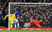 17th March 2019, Goodison Park, Liverpool, England; EPL Premier League Football, Everton versus Chelsea; Chelsea goalkeeper Kepa Arrizabalaga saves the penalty kick of Gylfi Sigurdsson of Everton but is unable to stop Gylfi Sigurdsson scoring from the rebound