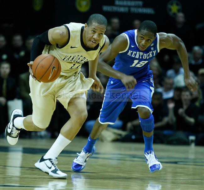 Brandon Knight runs the court with Kyle Fuller during the first half of the UK vs. Vanderbilt game on Saturday, February 12, 2011 at Memorial Gymnasium.  Photo by Latara Appleby | Staff