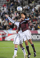 25 October 08: Rapids midfielder Jose Burciaga Jr. (6) jumps for a header against Real Salt Lake defender Kenny Deuchar. Real Salt Lake tied the Colorado Rapids at Dick's Sporting Goods Park in Commerce City, Colorado. The tie advanced Real Salt Lake to the playoffs.
