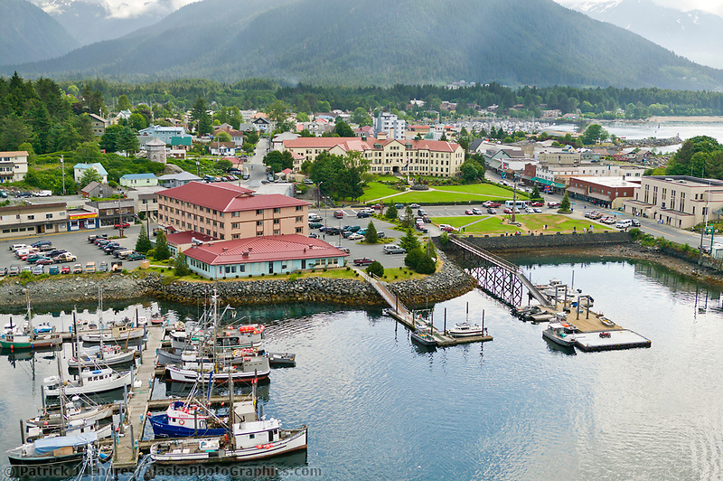 Aerial view of the coastal town of Sitka, on Baranof Island, southeast Alaska