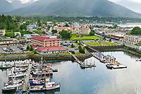 Aerial view of the coastal town of Sitka, on Baranof Island, southeast Alaska