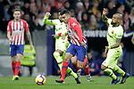 Club Atletico de Madrid's Angel Correa and Futbol Club Barcelona's Malcom Filipe Silva (L) and Arturo Vidal (R) during La Liga match. November 24,2018. (ALTERPHOTOS/Alconada)