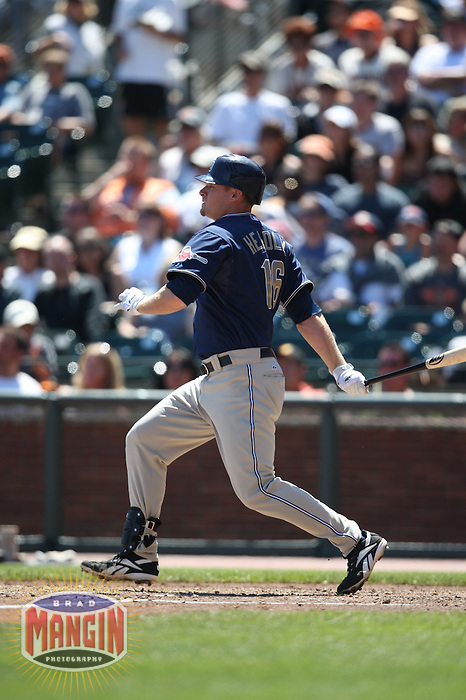 SAN FRANCISCO - AUGUST 24:  Chase Headley of the San Diego Padres bats during the game against the San Francisco Giants at AT&T Park in San Francisco, California on August 24, 2008.  The Giants defeated the Padres 7-4.  Photo by Brad Mangin