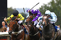 Winner of The Bathwick Tyres EBF Novice Stakes,Beringer (yellow) ridden by Finley Marsh and trained by Alan King  during Ladies Evening Racing at Salisbury Racecourse on 15th July 2017