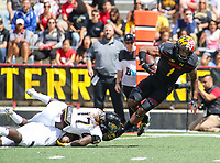 College Park, MD - September 9, 2017: Maryland Terrapins wide receiver D.J. Moore (1) gets tackled during game between Towson and Maryland at  Capital One Field at Maryland Stadium in College Park, MD.  (Photo by Elliott Brown/Media Images International)