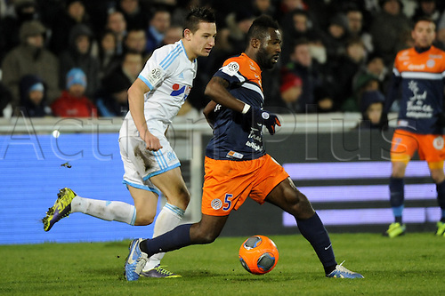 29.11.2013. Marseilles, France. French League 1 football. Marseilles versus Montpellier.  Thauvin (OM) - Tiene (MHSC)