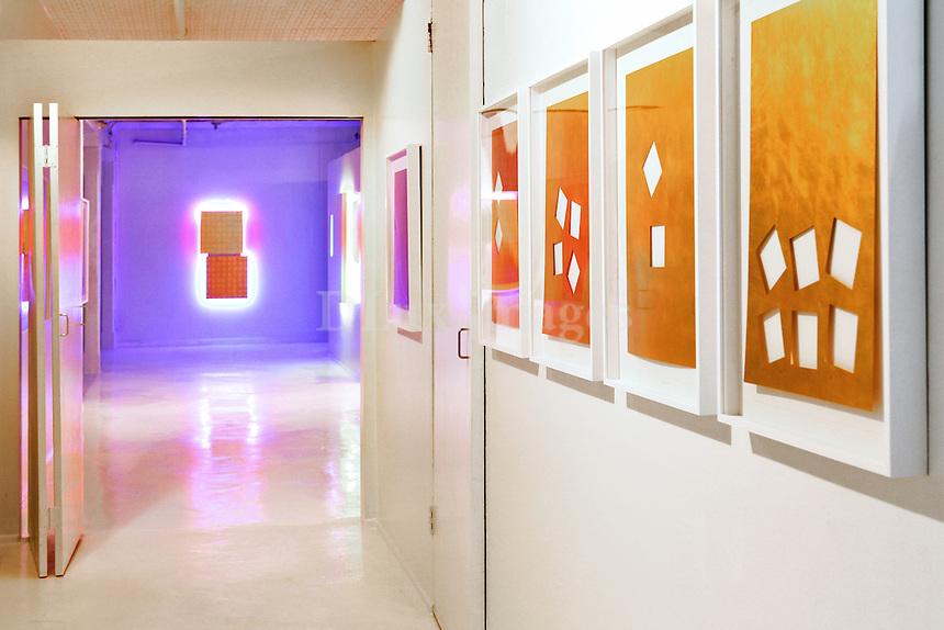 modern hallway with artworks