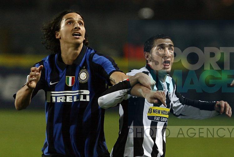 Zlatan Ibrahimovic of Inter with Giorgio Chiellini of Juventus