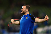 Jamie Roberts of Bath Rugby during the pre-match warm-up. Heineken Champions Cup match, between Leinster Rugby and Bath Rugby on December 15, 2018 at the Aviva Stadium in Dublin, Republic of Ireland. Photo by: Patrick Khachfe / Onside Images