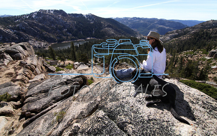 Cami and Bella enjoy the view during a horseback ride above Meadow Lake in Alpine County, Ca. near South Lake Tahoe on Wednesday, Nov. 3, 2010. .Photo by Cathleen Allison