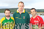 FIGHTING FIT: Jerry Carroll, Kieran Burke and Derry Sheehy from Daugh raring to go at the Dingle Marathon on Saturday....