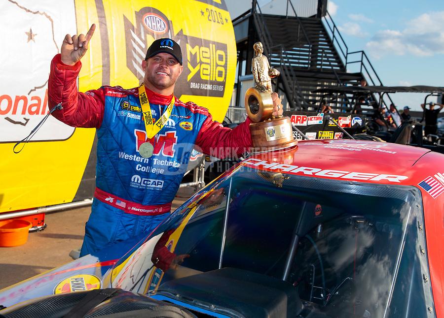 Oct 20, 2019; Ennis, TX, USA; NHRA funny car driver Matt Hagan celebrates after winning the Fall Nationals at the Texas Motorplex. Mandatory Credit: Mark J. Rebilas-USA TODAY Sports