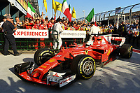 March 26, 2017: Sebastian Vettel (DEU) #5 from the Scuderia Ferrari team drivers into parc firme after winning the 2017 Australian Formula One Grand Prix at Albert Park, Melbourne, Australia. Photo Sydney Low