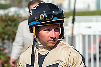 CERRITOS, CA  JULY 24:  Drayden Van Dyke,  after riding #4 Marley's Freedom to win the Great Lady M Stakes (Grade ll), on July 7, 2018, at Los Alamitos Race Course in Cerritos, CA. (Photo by Casey Phillips/Eclipse Sportswire/Getty Images)
