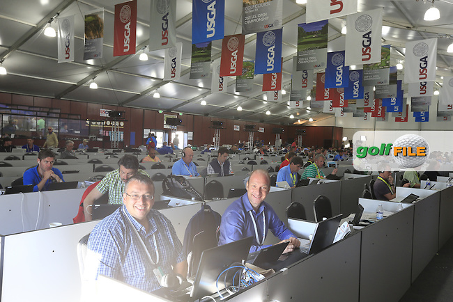 Inside the massive media centre during Friday's Round 2 of the 2015 U.S. Open 115th National Championship held at Chambers Bay, Seattle, Washington, USA. 6/20/2015.<br /> Picture: Golffile | Eoin Clarke<br /> <br /> <br /> <br /> <br /> All photo usage must carry mandatory copyright credit (&copy; Golffile | Eoin Clarke)