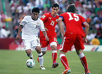 .Action photo of Esteban Rodriguez (L) of USA, during game of the FIFA Under 17 World Cup game, held at  Torreon.