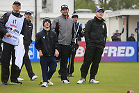 Brendan Lawlor (IRL) (AM)  with Juan Postigo Arce and Keith Pelley CEO European Tour during the Hero Pro-am at the Betfred British Masters, Hillside Golf Club, Lancashire, England. 08/05/2019.<br /> Picture Fran Caffrey / Golffile.ie<br /> <br /> All photo usage must carry mandatory copyright credit (© Golffile | Fran Caffrey)