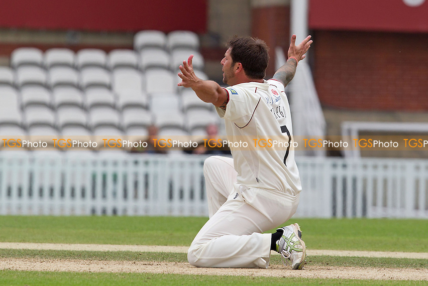 Peter Trego, Somerset CCC on his knees appealing for the wicket of Tom Maynard - Surrey CCC v Somerset CCC - LV County Championship, Division1 cricket at The Kia Oval - 19/05/12 - MANDATORY CREDIT: Ray Lawrence/TGSPHOTO - Self billing applies where appropriate - 0845 094 6026 - contact@tgsphoto.co.uk - NO UNPAID USE.