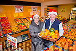 Customer Margaret O'Connor with Dan Horan of Horan's Fruit and Veg
