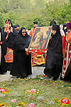 Israel, Ein Karem, the Russian Orthodox Visitation Day, the procession from Mary's Spring to Gorny Convent
