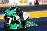 Jul. 26, 2013; Sonoma, CA, USA: NHRA pro stock rider John Hall during qualifying for the Sonoma Nationals at Sonoma Raceway. Mandatory Credit: Mark J. Rebilas-