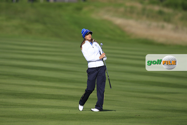 Azahara Munoz of Team Europe on the 8th fairway during Day 1 Foursomes at the Solheim Cup 2019, Gleneagles Golf CLub, Auchterarder, Perthshire, Scotland. 13/09/2019.<br /> Picture Thos Caffrey / Golffile.ie<br /> <br /> All photo usage must carry mandatory copyright credit (© Golffile   Thos Caffrey)