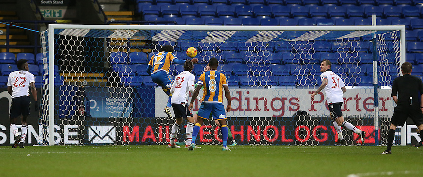 Shrewsbury Town's Junior Brown scores his sides only goal<br /> <br /> Photographer Stephen White/CameraSport<br /> <br /> The EFL Sky Bet League One - Bolton Wanderers v Shrewsbury Town - Monday 26th December 2016 - Macron Stadium - Bolton<br /> <br /> World Copyright &copy; 2016 CameraSport. All rights reserved. 43 Linden Ave. Countesthorpe. Leicester. England. LE8 5PG - Tel: +44 (0) 116 277 4147 - admin@camerasport.com - www.camerasport.com