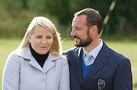 "Crown Prince Haakon, and Crown Princess Mette-Marit of Norway on a three day visit to "" North Troms "", in Northern Norway, visit a farm near, Lyngseidet."