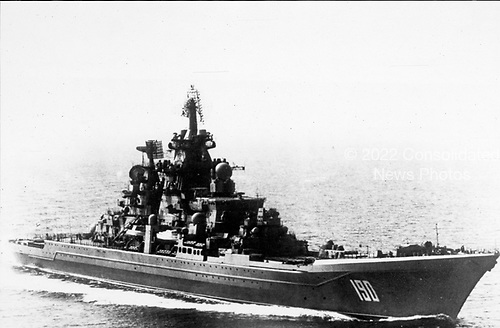 """United States Department of Defense released its 1985 assessment of Soviet Military Power at the Pentagon in Washington, DC on April 2, 1985.  The release stated """"The nuclear-powered guided missile cruiser FRUNZE, second unit of the KIROV-class, at 28,000-tons displacement, is 248 meters (814 feet) in length, carries RBU-6000 rocket / launchers, 96 vertically launched SA-N-19 surface-to-surface missiles as well as ADMG Gatling guns on its foredeck.  Its radars and electronic warfare suite contribute to its surface strike and fleet defense missions.  Its afterdeck has a twin-barrell 130m-mm gun, landing platform, and handling facilities for embarked HELIX helicopters.""""<br /> Credit: Department of Defense via CNP"""
