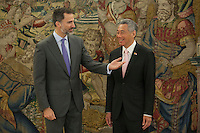 King Felipe VI of Spain during a royal audience with Singapur Prime Minister, Lee Hsien Loong, at Zarzuela Palace in Madrid, Spain. February 06, 2015. (ALTERPHOTOS/Victor Blanco) /NORTEphoto.com