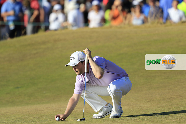 Branden GRACE (RSA) lines up his ball on the 17th green during Sunday's Final Round of the 2015 U.S. Open 115th National Championship held at Chambers Bay, Seattle, Washington, USA. 6/22/2015.<br /> Picture: Golffile | Eoin Clarke<br /> <br /> <br /> <br /> <br /> All photo usage must carry mandatory copyright credit (&copy; Golffile | Eoin Clarke)