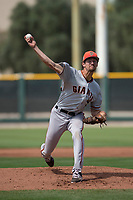 San Francisco Giants relief pitcher (34) delivers a pitch to the plate during a Minor League Spring Training game against the Cleveland Indians at the San Francisco Giants Training Complex on March 14, 2018 in Scottsdale, Arizona. (Zachary Lucy/Four Seam Images)