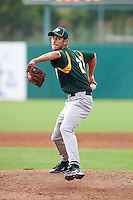 Trevor Clifton #27 of Heritage High School in Maryville, Tennessee playing for the Oakland Athletics scout team during the East Coast Pro Showcase at Alliance Bank Stadium on August 1, 2012 in Syracuse, New York.  (Mike Janes/Four Seam Images)
