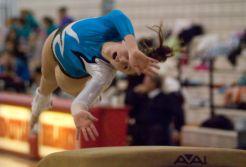 A Nicolet gymnast at the Highlander Invitational at Homestead High School on Saturday, Jan 17, 2009.   Ernie Mastroianni photo.