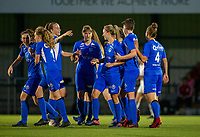 20190823 - OUD HEVERLEE BELGIUM : KRC Genk's Eleen Kimps (in the front), Aster Janssens (in the middle) and Sari Kees (on the left) pictured celebrating Kimp's goal during the female soccer game between the OHL Ladies vs KRC Genk Ladies, the first game for both teams in the Belgian Women's Super League , Friday 23rd  August 2019 at the OHL Jeugdcomplex , Belgium . PHOTO SPORTPIX.BE | SEVIL OKTEM