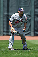 Binghamton Mets outfielder Darrell Ceciliani (10) during a game against the Erie Seawolves on July 13, 2014 at Jerry Uht Park in Erie, Pennsylvania.  Binghamton defeated Erie 5-4.  (Mike Janes/Four Seam Images)