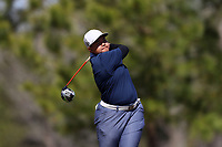 WALLACE, NC - MARCH 09: Phu Khine of UNC Wilmington tees off on the 14th hole of the River Course at River Landing Country Club on March 09, 2020 in Wallace, North Carolina.