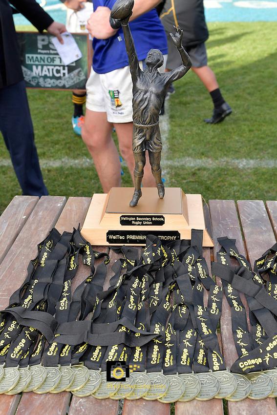 Action from the College Rugby Premiership Final - St Patricks Town v Wellington College at Porirua Park, Porirua, New Zealand on Sunday 14 August 2016. <br /> Photo by Masanori Udagawa. <br /> www.photowellington.photoshelter.com.