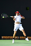 WINSTON SALEM, NC - MAY 22: Matt Mendez of the Ohio State Buckeyes hits a forehand against the Wake Forest Demon Deacons during the Division I Men's Tennis Championship held at the Wake Forest Tennis Center on the Wake Forest University campus on May 22, 2018 in Winston Salem, North Carolina. Wake Forest defeated Ohio State 4-2 for the national title. (Photo by Jamie Schwaberow/NCAA Photos via Getty Images)