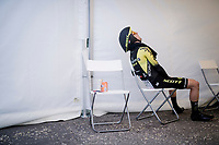 an exhausted Simon Yates (GBR/Mitchelton-Scott) after he finishes 2nd at the opening stage 1 (ITT): Bologna to Bologna/San Luca (8.2km)<br /> 102nd Giro d'Italia 2019<br /> <br /> ©kramon