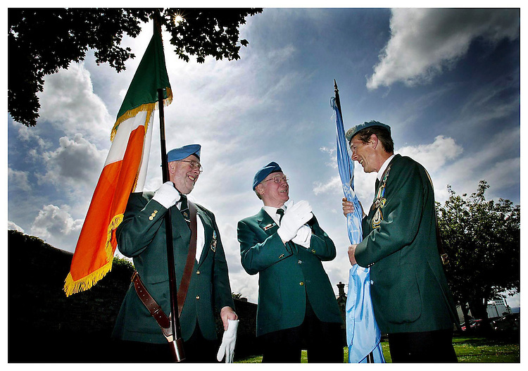 Remembering the Old Days......Ex Captain, Paddy Kirby (left) with Ex. Sargent Alec Anderson and Ex. Captain, Robert Tapley, pictured here at the Irish United Nations Veterans Association Ceremony held at Arbor Hill Church, Dublin. Pic. Robbie Reynolds