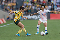 9th November 2019; Bankwest Stadium, Parramatta, New South Wales, Australia; International Womens Friendly Football, Australia versus Chile; Hayley Raso of Australia passes the ball as Su Helen Galaz of Chile closes in - Editorial Use
