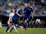 Real Madrid - Kobenhavn . Partido de UEFA Champions League<br /> MOdric y Gislason<br /> PHOTOCALL3000/ DP