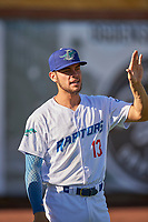Marco Hernandez (13) of the Ogden Raptors before the game against the Grand Junction Rockies at Lindquist Field on June 15, 2019 in Ogden, Utah. The Raptors defeated the Rockies 12-11. (Stephen Smith/Four Seam Images)